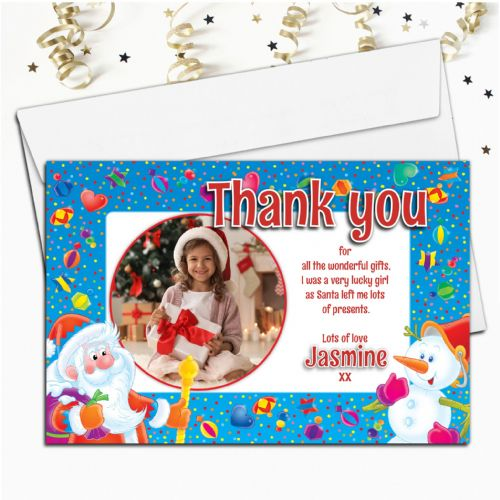 10 Personalised Christmas Xmas Thank you PHOTO Cards N1